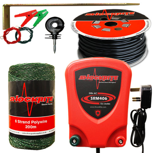 SRM Energiser, Green Wire, Ring Insulators, Lead Out Cable, Earth Stake and Connection Clips