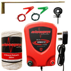 SRM412 Energiser, White Electric Fence Wire, Insulators, Earth Stake and Connection Clips