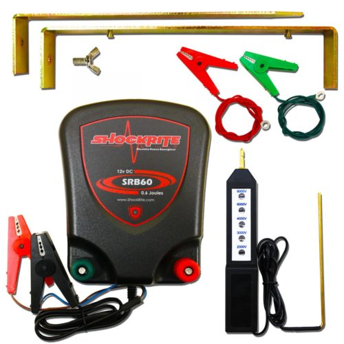 ShockRite SRB60 Energiser, Fence Tester, Earth Stake and Connection Cables