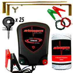 ShockRite SRB20 Energiser, Ring Insulators, White Wire, Earth Stake & Connection Cables