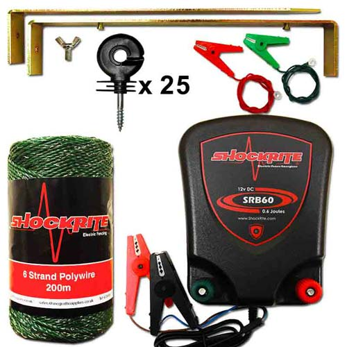 Electric Fence Lead and Earth Ground Stake Kit for Fencing Energiser