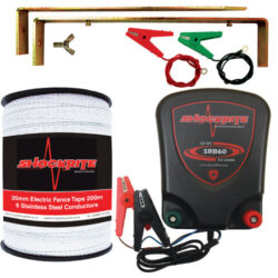 ShockRite Battery Powered Electric Fence Energiser SRB60 0.6J, 200m 20mm White Electric Fence Tape, Earth Stake and Connection Cables