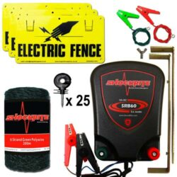 ShockRite Battery Powered Electric Fence Energiser SRB60 0.6J, 200m Green 6 Strand Electric Fencing Polywire, Electric Fence Warning Signs, Connection Cables and 25 Insulators
