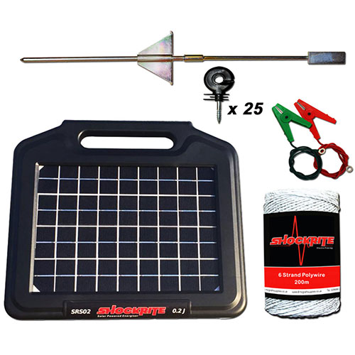 Solar 0.2J Energiser, Insulators, Cables, Electric fence wire and Earth Stake